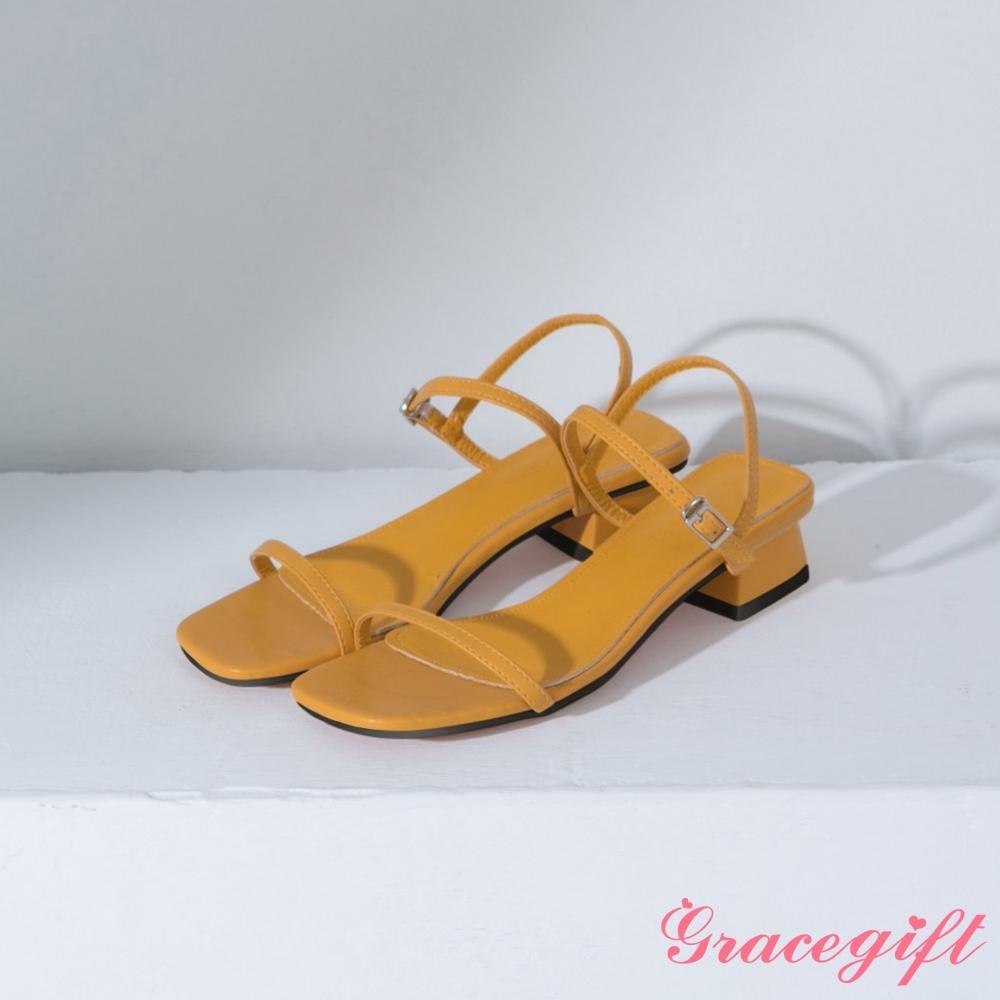 Grace gift-方頭一字繫踝中跟涼鞋 黃