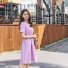 純色蕾絲雕花拼接傘襬洋裝-OB大尺碼