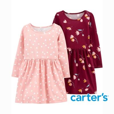 【Carter s】點點花瓣2件組長袖洋裝(2T-5T) (台灣總代理)