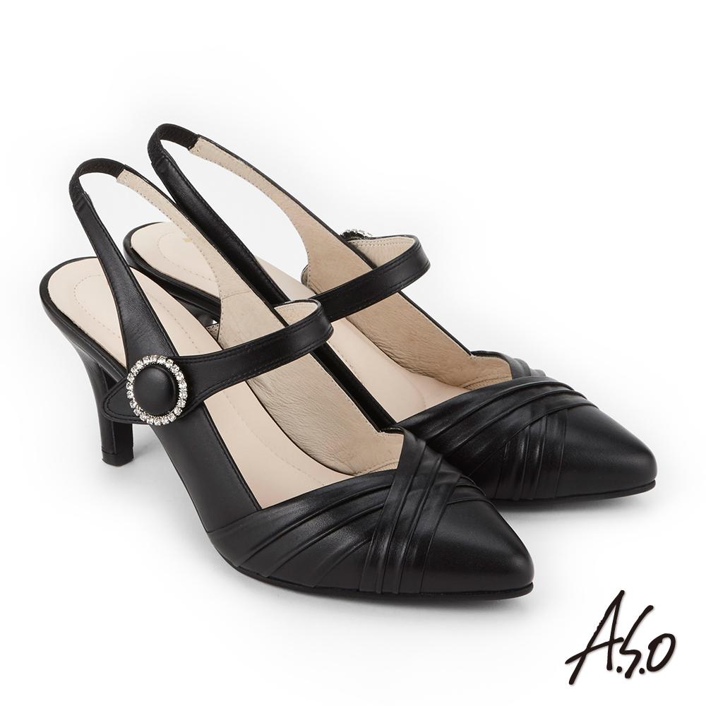 A.S.O 雅緻魅力  全真皮鑲崁鑽高跟包鞋 黑色