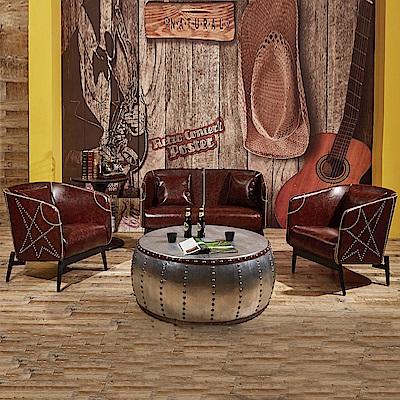 AS-路易士工業風咖啡色1+1+2人座沙發組-68x68x80cm