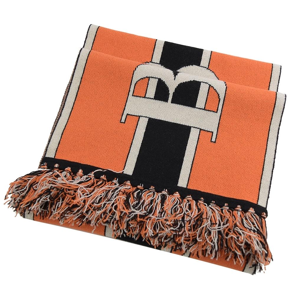 BURBERRY經典大LOGO長型羊毛圍巾(橘)