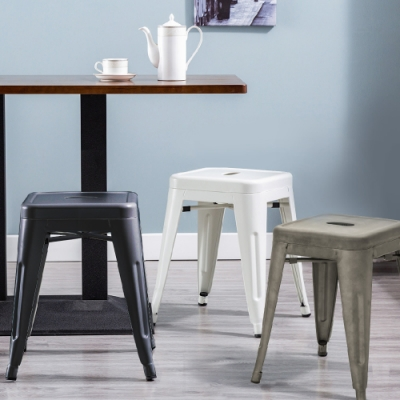 E-home Una尤娜工業風可堆疊金屬吧檯椅-高45cm 三色可選 四入組