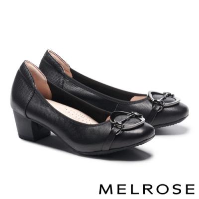 低跟鞋 MELROSE 復古時尚金屬飾釦蜥蜴紋全真皮低跟鞋-黑