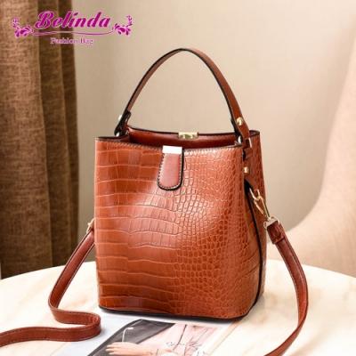 【Belinda】克蕾伊鱷魚紋大開口手提側背水桶包(棕色)