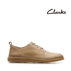 Clarks 步步清新 簡約復古精緻縫線設計休閒男鞋 棕褐色