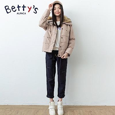 betty's貝蒂思 簡約繡線腰間鬆緊長褲(黑色)