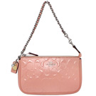 COACH粉紅漆皮浮雕C Logo編織鍊帶手提掛小包