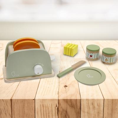 Teamson 小廚師法蘭克福木製玩具烤麵包機_綠色_11件組