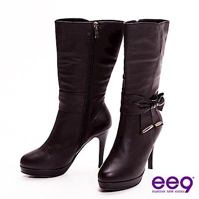 ee9 心滿益足~英倫美人超柔軟真皮蝴蝶結美型高跟中筒靴~優雅黑