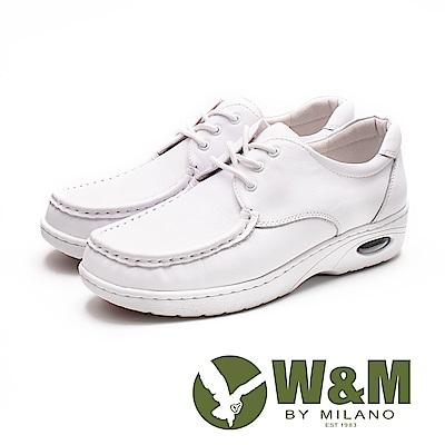 W&M 皮質氣墊彈力綁帶護士鞋 女鞋 - 白(另有黑)