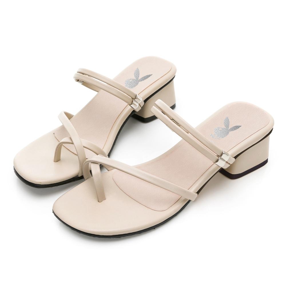 PLAYBOY 玩美小時光 夏日美型2WAY方跟涼鞋-米-YD731333