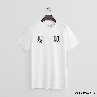 Hang Ten - 男裝 - 有機棉-有機棉-簡約配色數字logo棉T - 白