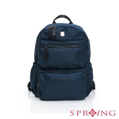 SPRING-未來質感系列尼龍雙口袋後背包-極致藍
