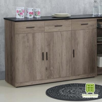 漢妮Hampton赫瑟爾系列古橡木色4尺石面碗盤櫃下座-120.1*41*84.5cm