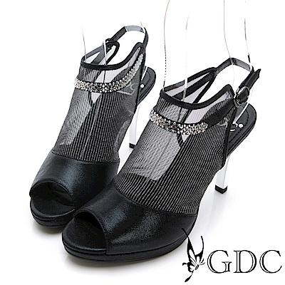 GDC-性感真皮網紗簍空魚口涼鞋-黑色