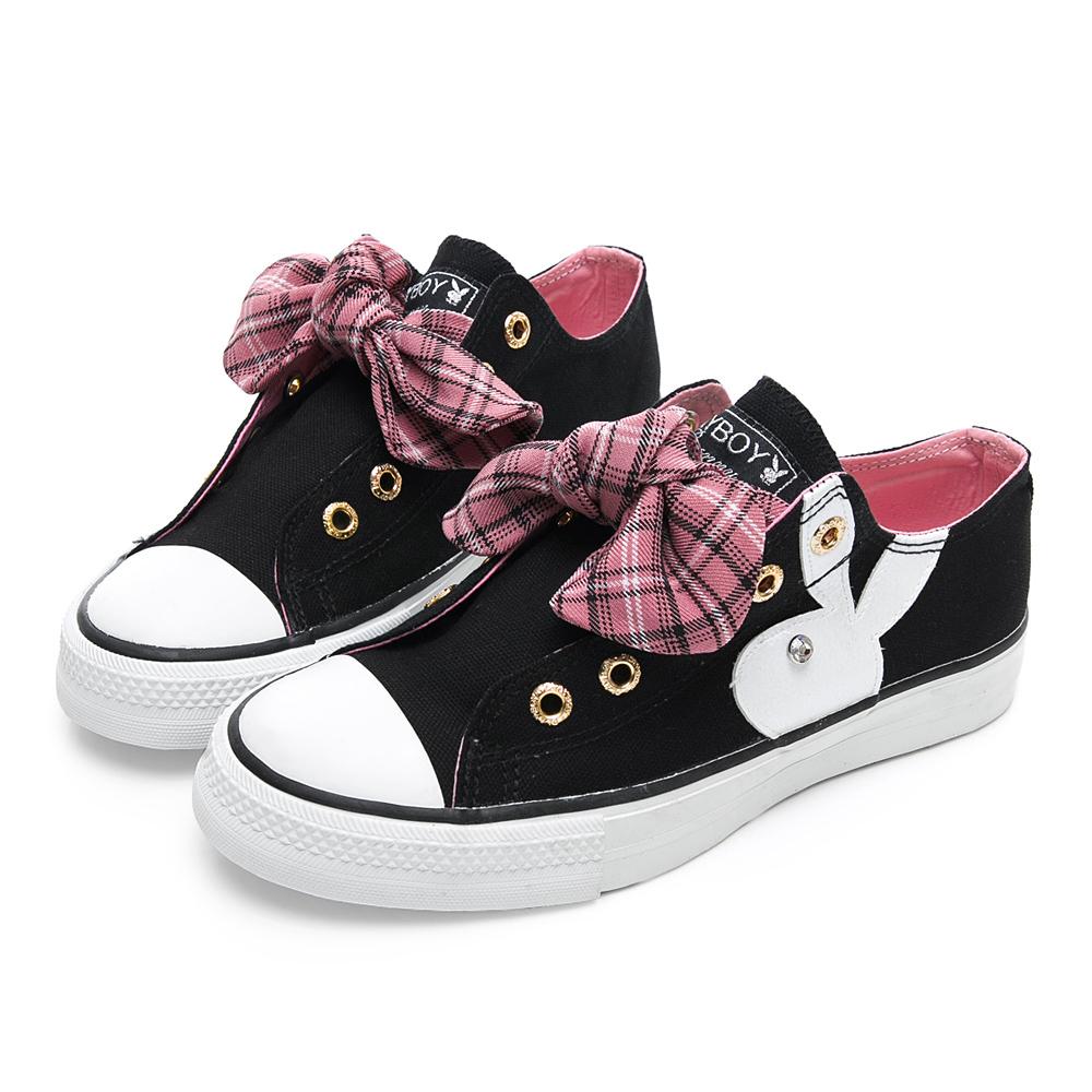 PLAYBOY 甜美格紋蝴蝶結休閒鞋-黑-Y5205CC