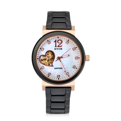 HYUN炫 心型鏤空陶瓷精品錶-黑