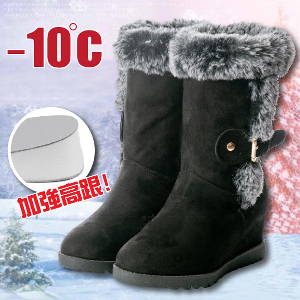 紐約少女 內增高 ! 女 超細纖維時尚中高筒防潑水保暖「高跟」雪靴_黑