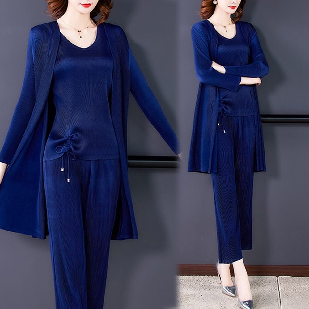 【KEITH-WILL】(預購)休閒亮麗三宅風壓褶三件式套裝(共2色) (藍色)