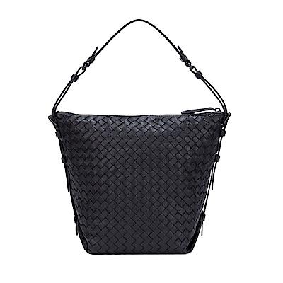 BOTTEGA VENETA 小牛皮編織手提包(黑色)