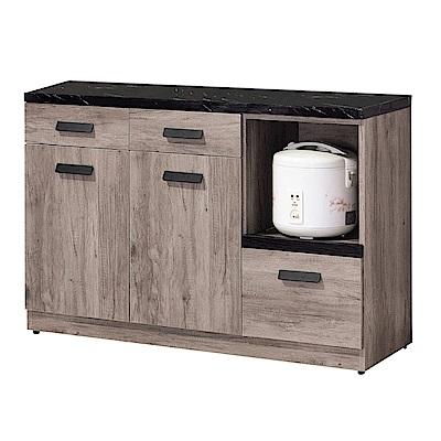 文創集 皮斯德時尚4尺雲紋石面餐櫃/收納櫃(三色可選)-121x41x82cm免組