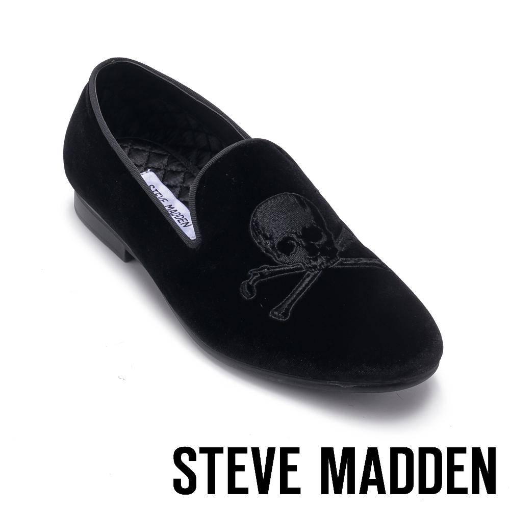 STEVE MADDEN-CRANIUM絨面骷髏男士懶人鞋-絨黑