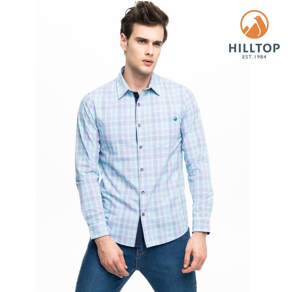 【hilltop山頂鳥】男款吸濕快乾抗UV長袖襯衫S05M65淺藍紫格紋