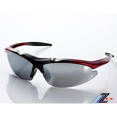 【Z-POLS】TR90彈性輕量黑紅漸層 搭載PC防爆電鍍水銀黑運動太陽眼鏡