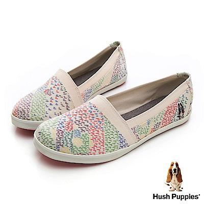 Hush Puppies 絢爛煙火咖啡紗懶人鞋-米白