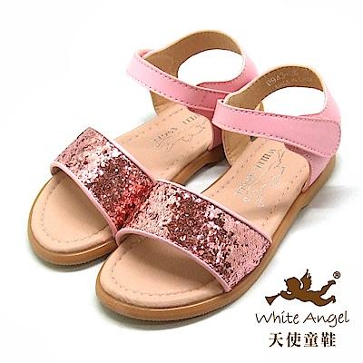 天使童鞋 閃亮布蘭妮涼鞋(中-大童)D943-粉
