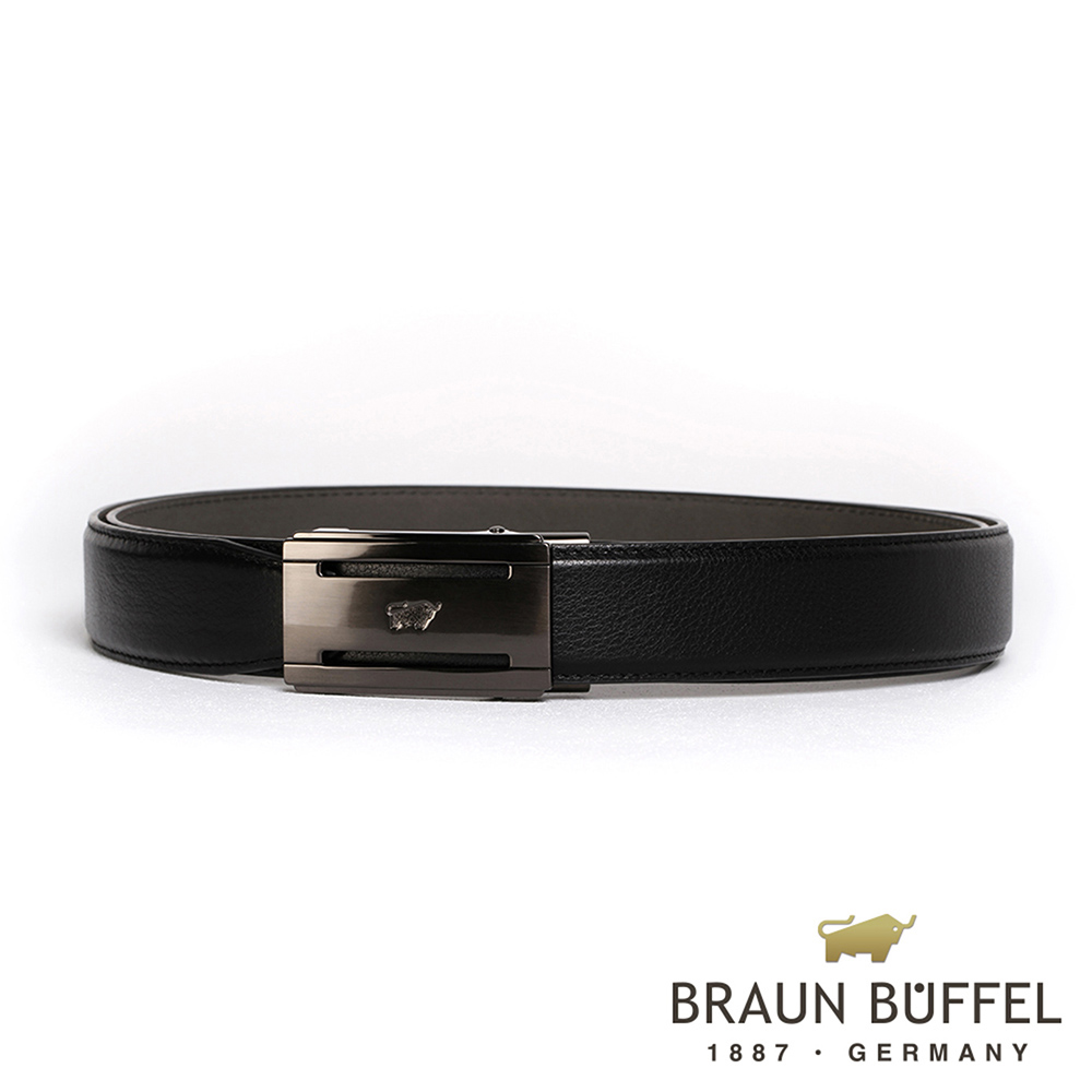 BRAUN BUFFEL - 極致品味紳士自動扣皮帶 - 鎗色
