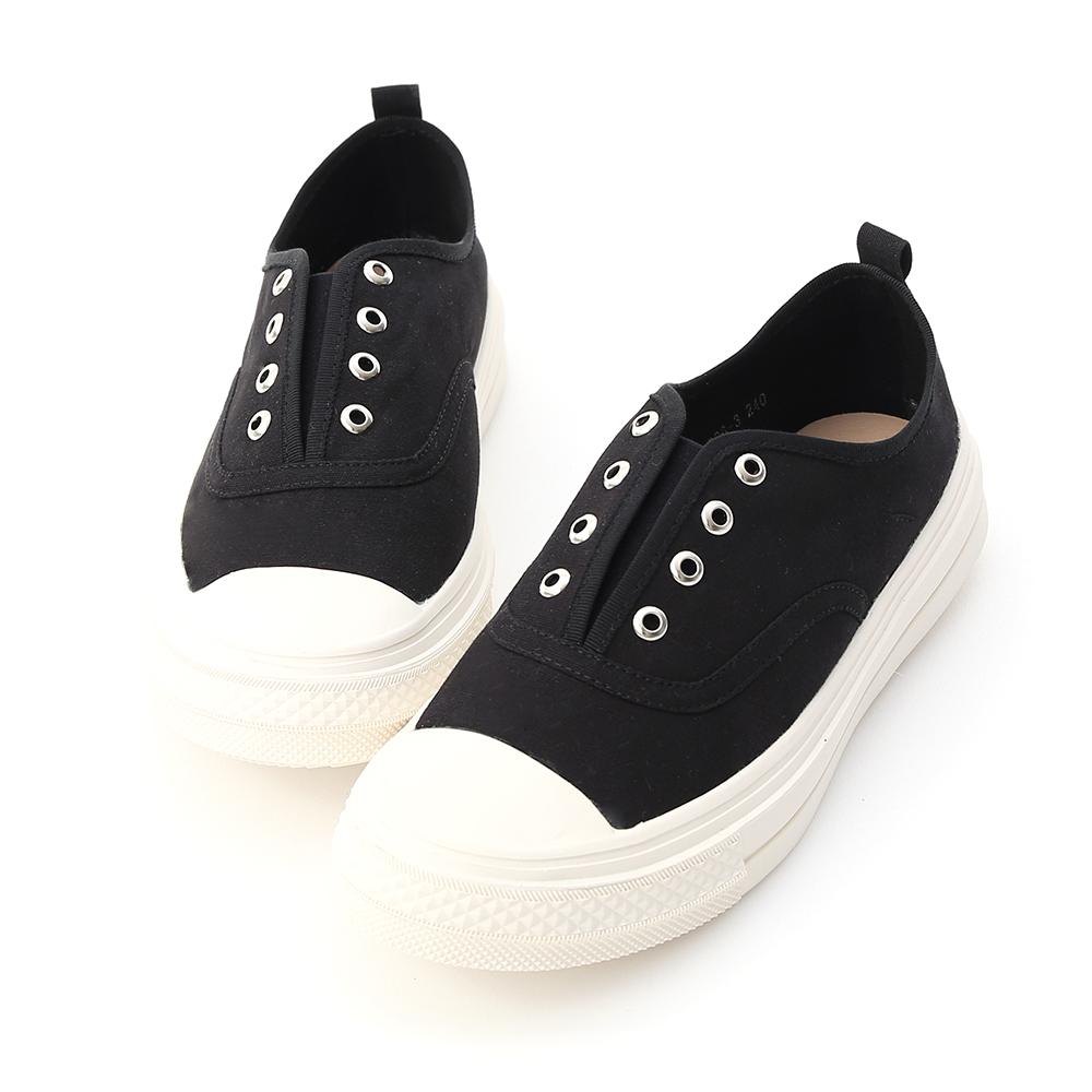 D+AF 活力悠閒.無綁帶設計帆布休閒鞋*黑