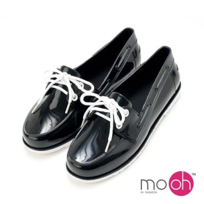 mo.oh愛雨天-素色平底休閒防水雨鞋-黑色