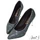 Ann'S閃耀恆星-亮片電鍍鞋跟防水台尖頭高跟鞋-深藍 product thumbnail 1