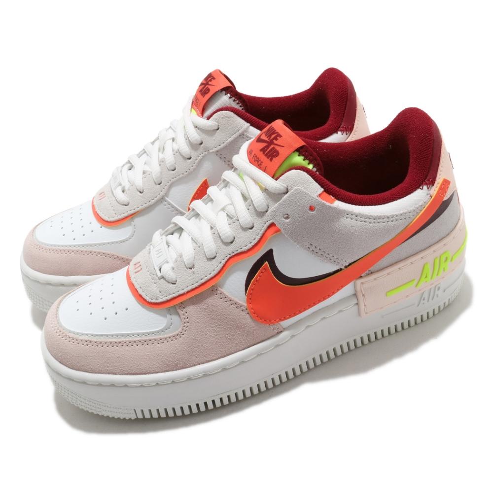 Nike 休閒鞋 AF1 Shadow 運動 女鞋 經典款 厚底 舒適 簡約 穿搭 球鞋 白 粉橘 CU8591600