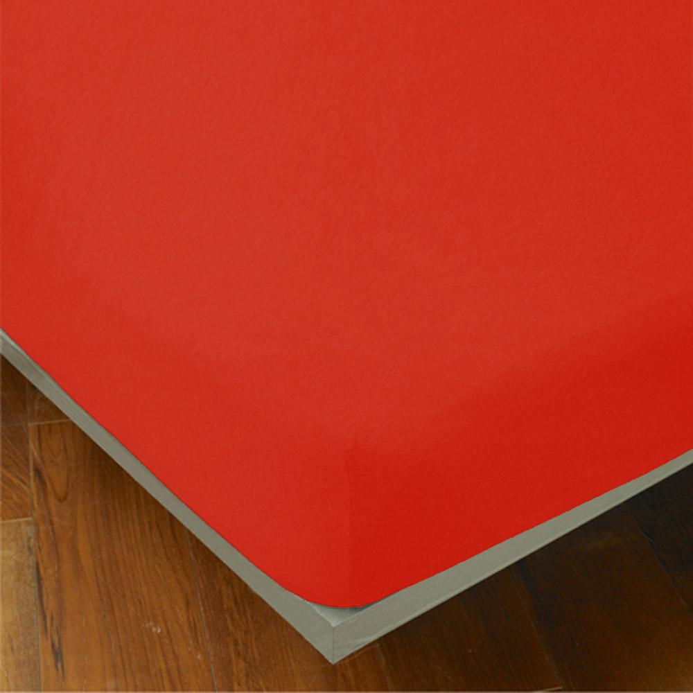 Yvonne Collection 特大純棉素面床包-橘紅