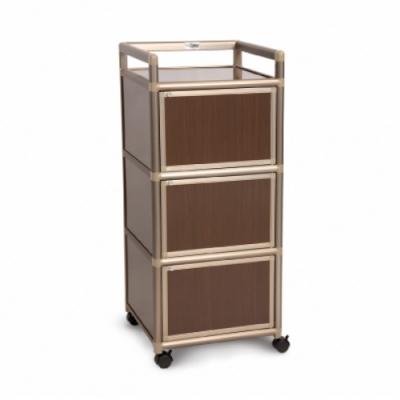 Cabini小飛象-黑桃木1.5尺鋁合金三門收納櫃49.8x50.8x115.3cm