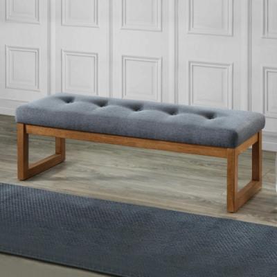 Bernice-西恩4.4尺灰色布長凳/雙人椅/長椅/床尾椅/穿鞋-132x47x43cm