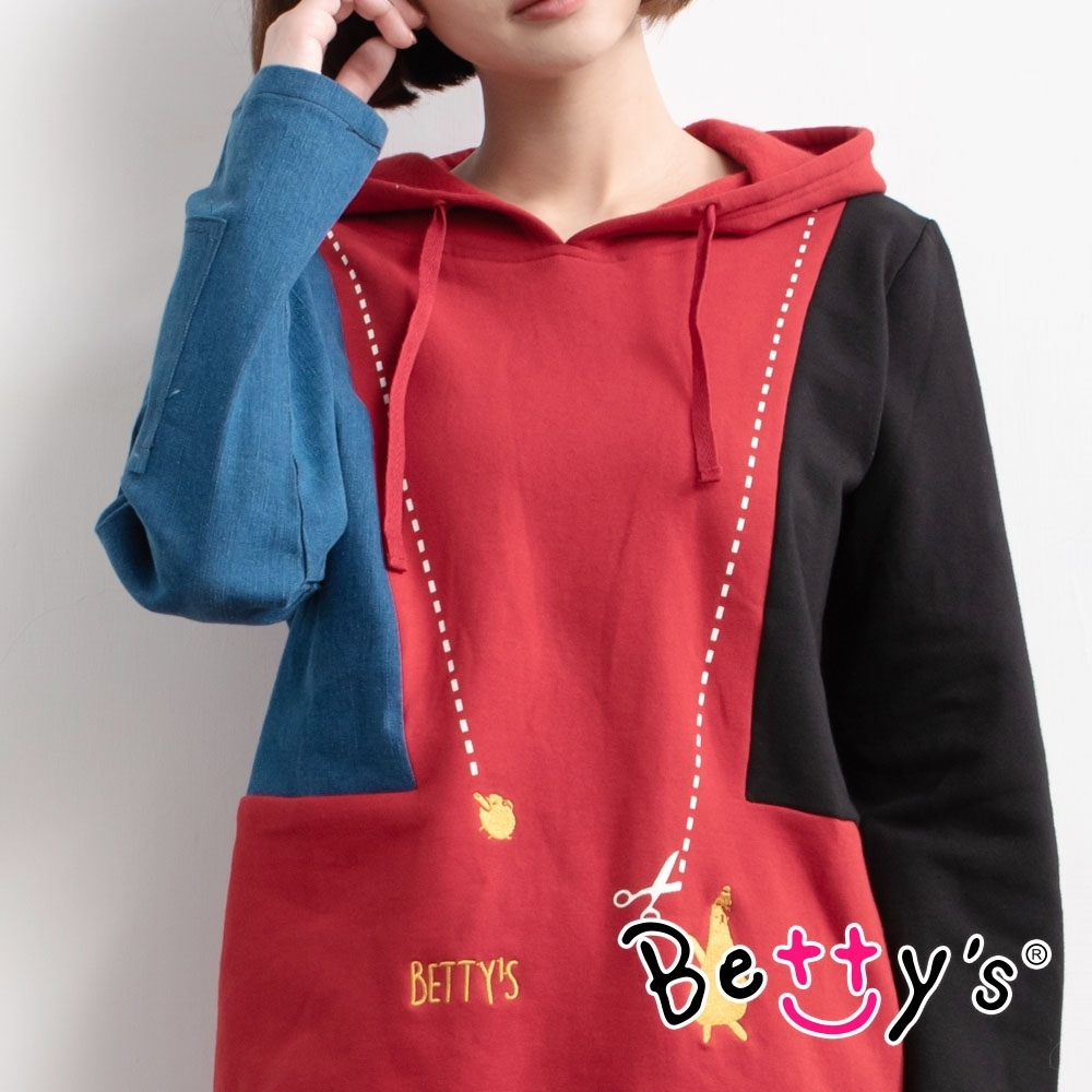 betty's貝蒂思 連帽拼接繡線T-shirt(藍紅黑)