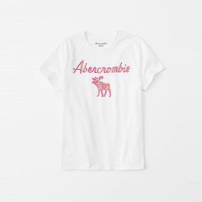 麋鹿 AF A&F 經典大麋鹿文字亮片短袖T恤(女青年款)-白色