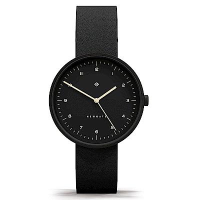 Newgate-DRUMLINE-經典數字-紳士黑-皮革錶帶-40mm