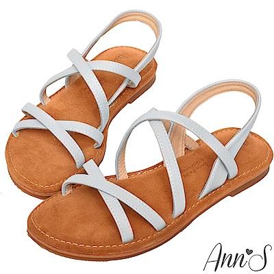 Ann'S水洗牛皮-雙X秒穿勾帶寬版平底涼鞋-灰藍