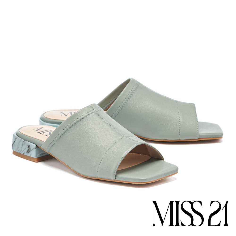 拖鞋 MISS 21 復古時髦彈力羊皮方頭低跟拖鞋-藍