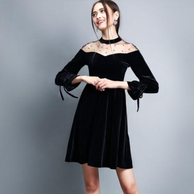 專注內搭-小香風絲絨收腰洋裝禮服小黑裙(S-XL可選)