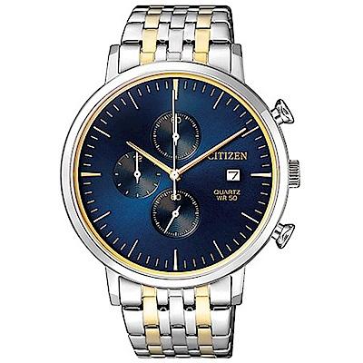 CITIZEN 都會潮流風尚三眼計時石英腕錶(AN3614-54L)-藍x41mm