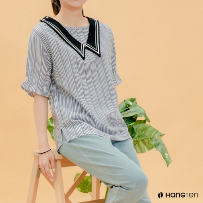 Hang Ten- 青少童裝-棉質領結條紋短T-藍