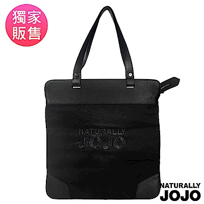 NATURALLY JOJO 可收納LOGO側背包(黑)