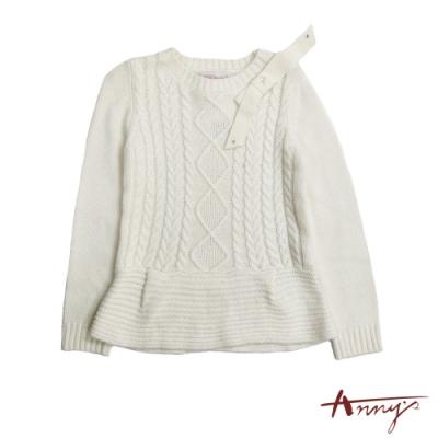 Annys可愛氣質蝴蝶結套頭柔軟羊毛毛衣*6652米白