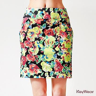 KeyWear奇威名品     歐風油墨印花獨特設計中庸裙-綜合色